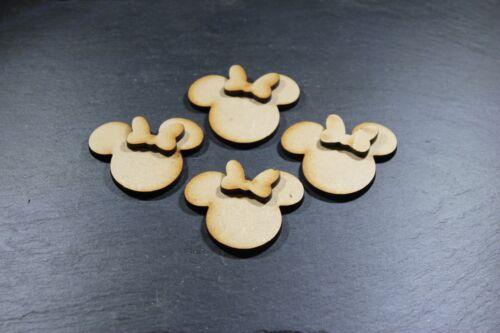 3D Disney Minnie Mouse Heads X15 Mini MDF Blank Shapes Decoration Wooden