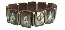 Madonna and Baby Jesus Wooden Stretch Bracelet with Silver Color Metal Spacers