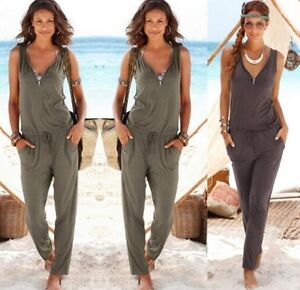 59183b4b9b67 Image is loading UK-Womens-summer-V-neck-Evening-Party-Playsuits-