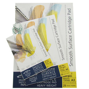 A3 Pads 220gsm Winsor /& Newton Smooth Surface Cartridge Pad A3 25 Sheets