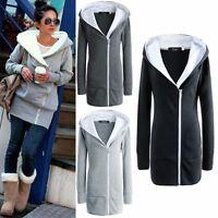Womens Ladies Long Sleeve Hoodie Jacket Coat Tops Hooded Size 10 12 14 16 18 20