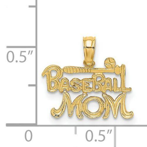 14k or Jaune Baseball Mom mots avec batte et Balle Pendentif 10 mm x 15 mm