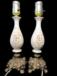 Pair of Vintage Victorian Porcelain Brass Cherub Putti Lamps