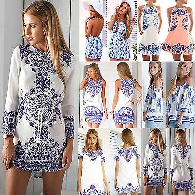 Eté Femmes Mesdames Floral Imprimer Mini-robe longue Top Playsuit Jumpsuit Short