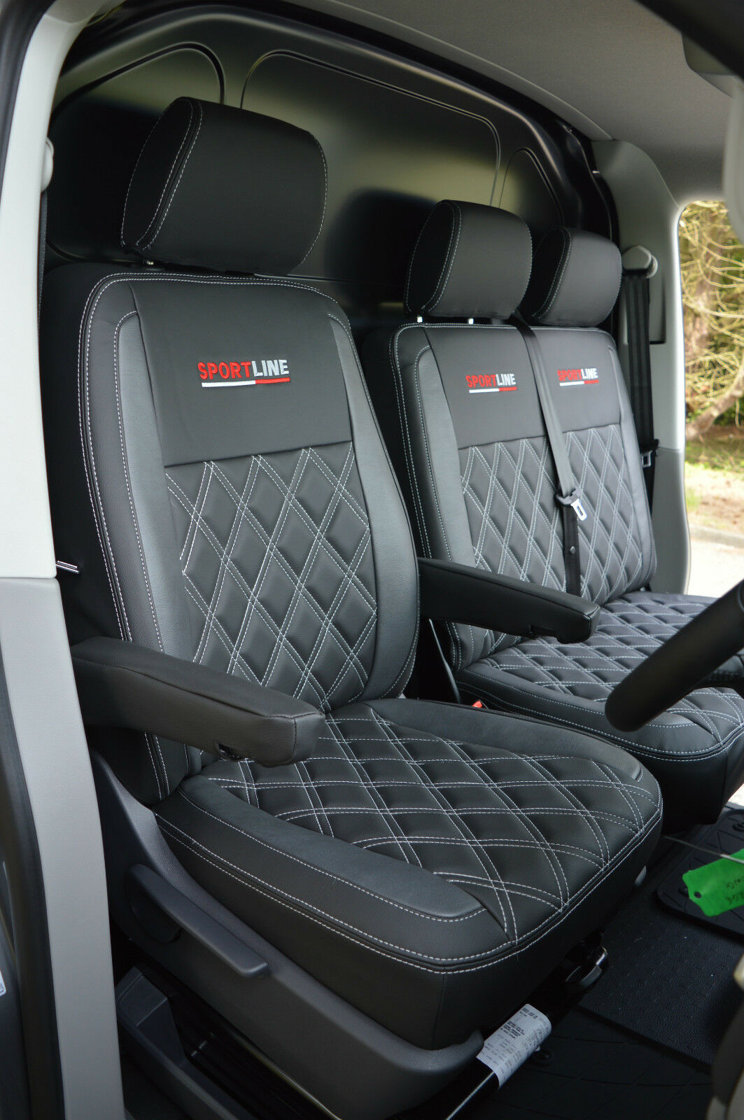 volkswagen vw transporter t5 van seat covers black grey with diamond quilted ebay. Black Bedroom Furniture Sets. Home Design Ideas