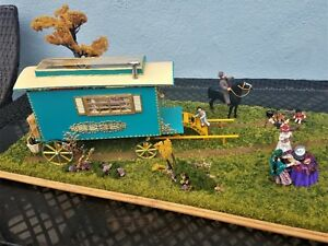 Details about Dollhouse Miniature OOAK Gypsy Wagon Campground Diorama 7  dolls 1:24 1/2 Scale