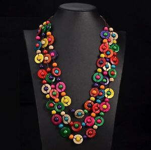 New-Handmade-Multi-coloured-wood-bead-in-coconut-shell-statement-necklace-60cm