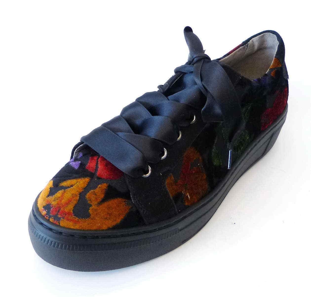 Gabor schwarz Fashion Sneaker schwarz Gabor bunte Samt Blumen Plateau Schnür 315 71 45b869