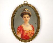 Miniature portrait Elisabeth de Bavière Reine Belgique Van Dormael XXe