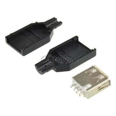 5pcs Type A female USB 4 Pin Plug Socket Connector&Plastic Cover