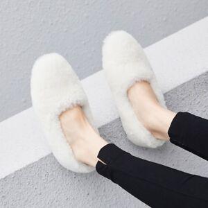 Mok Mocassini Inverno Court Donna agnello di Calda Slip Moda Shoes Donna On pelliccia qUUz76w