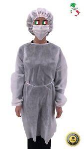 Set-5-10-Jetables-Gown-tnt-Blanc-Bonnet-Vetements-Securite-Protection