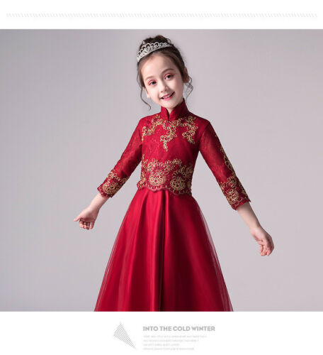 Children Girls Embroided Chinese style Red Cheongsam Party Wedding Dress ZG8