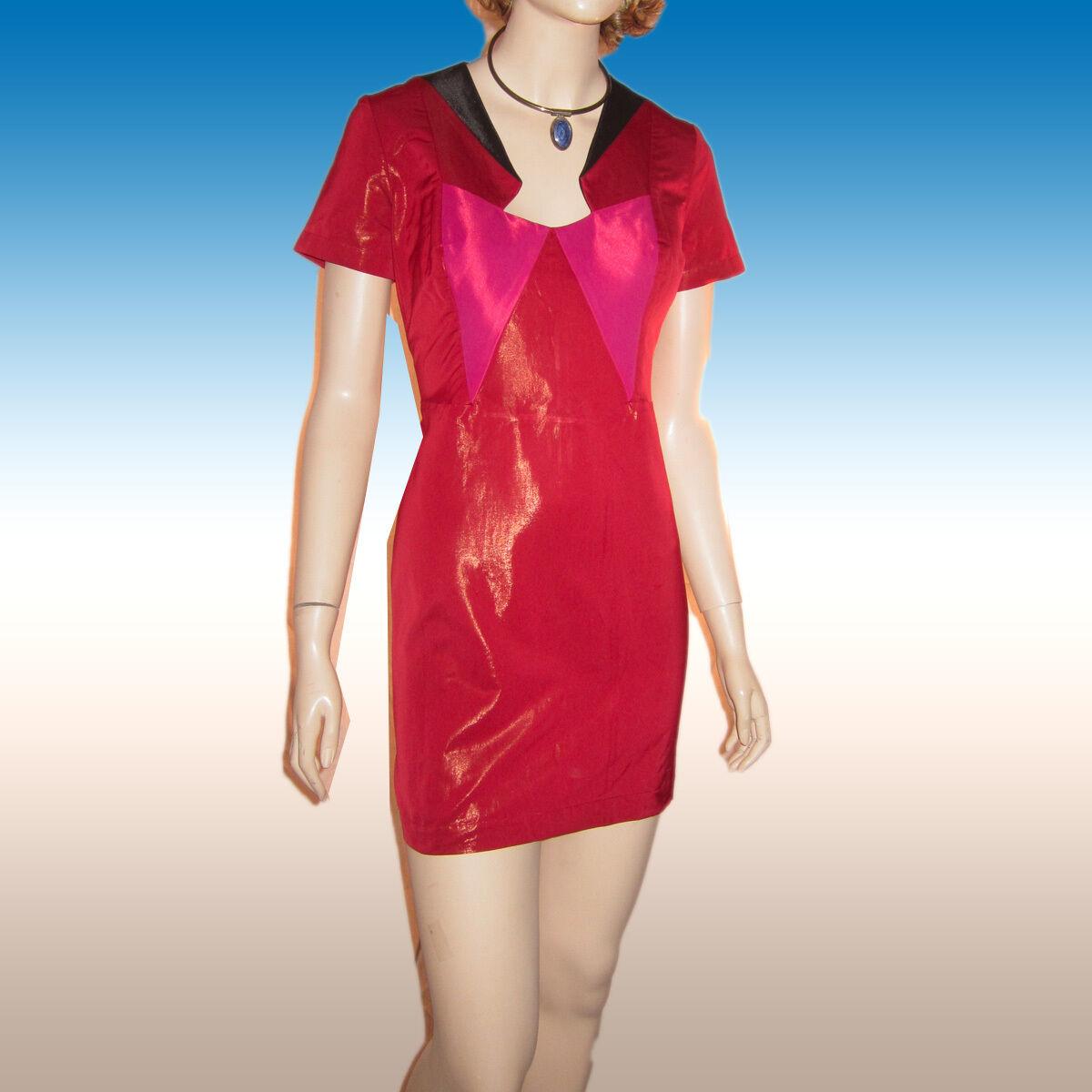 Nwt Ana Verriegelung Kleid Gr. UK 8 Dreifarbig Block Kontur Mantel Lack-Optik