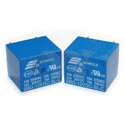 10 Pcs 12V DC SONGLE Power Relay SRD-12VDC-SL-C PCB Type