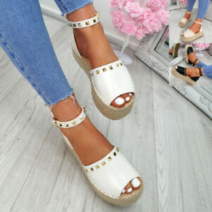 WOMENS-LADIES-ROCK-STUDS-ESPADRILLE-FLATFORM-PLATFORM-SANDALS-CASUAL-SHOES-SIZE
