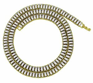Mens-1-Row-Icy-Baguette-Cz-Link-14k-Gold-Plated-30-034-Chain-Hip-Hop-Necklace