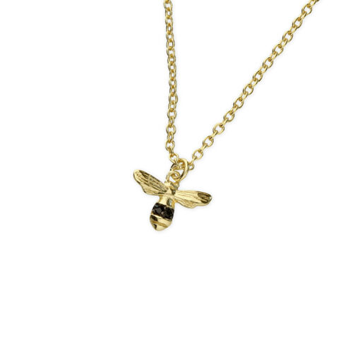 SALE 9ct Gold Plated Tiny Bee Pendant with Black Cubic Zirconia Decor New Design