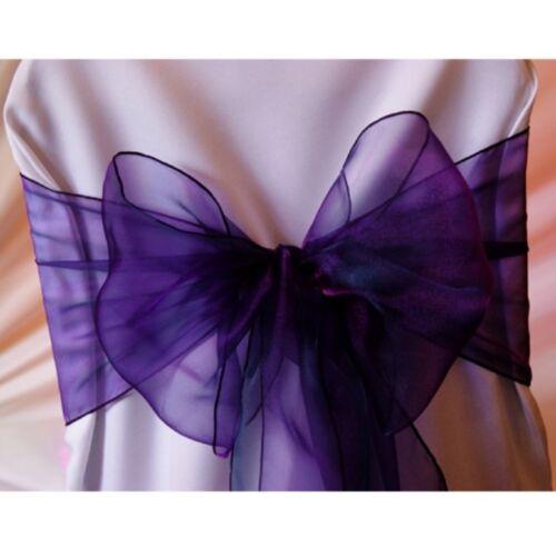 Organza Chair Sash Bows For Wedding Banquet Party Decor Events Cadbury Purple 50