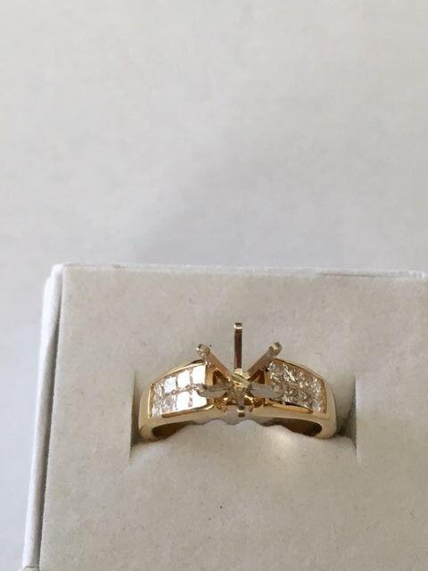 18k yellow gold ring setting .70 carat princess cut diamond invisible setting VS
