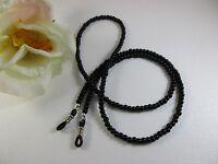 Genuine 3mm Black Onyx Beaded Eyeglass Chainholdercord Adjustable End Usa
