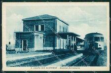 Ravenna Sant'Agata Sul Santerno Stazione Treno PIEGHINA cartolina KF2214