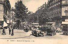 PARIS FRANCE BOULEVARD DES CAPUCINES OLD CARS TROLLEY POSTCARD