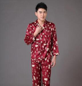 Handsome Chinese Men s traditional silk Kung Fu suit pajamas Size ... 5a29cd22a