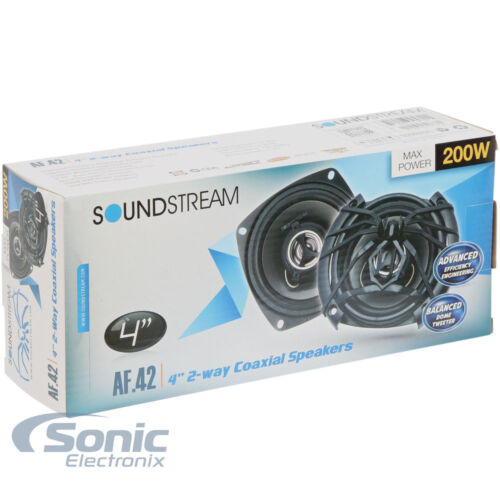"""Soundstream Arachnid AF.42 200 Watts 4/"""" 2-Way Coaxial Car Speakers With CoversFa"""