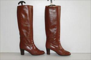 DANNY-ROSS-Bottes-Cavalieres-Vintage-Tout-Cuir-Lisse-Marron-T-37-5-38-BE