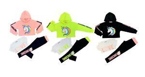 Girls Kids Unicorn Hoodie Crop Top /& Leggings Tracksuit 3 Pcs set Outfits 2-12Y