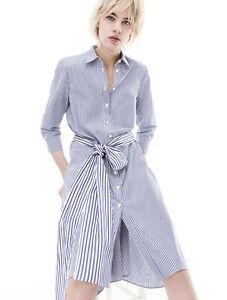 d33c832a48ea ZARA STUDIO Stripe Poplin Belted Shirt Midi Dress Blue White Size XS ...