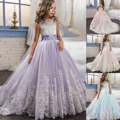 Flower Kid Baby Girls Lace Tulle Dress Gown for Wedding Bridesmaid Pageant Party