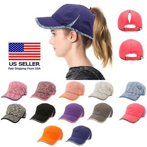 e9641d7c6 Details about Ponytail Messy Buns Trucker Ponycaps Plain Baseball Visor Cap  Dad Hat Dry Fit