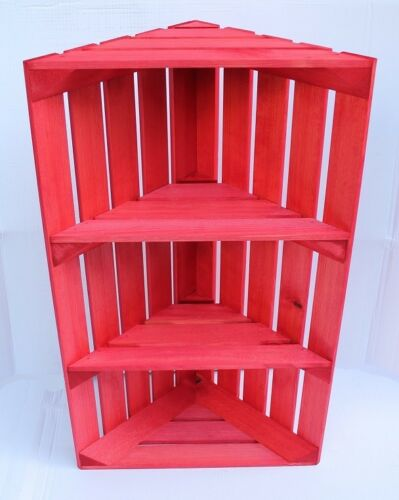 Noël rouge en bois Caisse unité de coin Apple Style Vintage Shop Display étagère