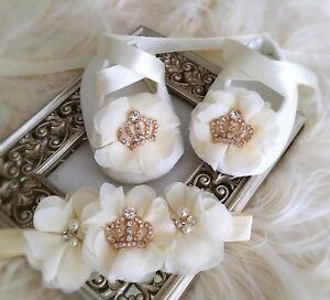 Image is loading Baby-Girl-Ivory-Christening-Baptism-Shoes-Chiffon-Flowers- 98beecfbddf