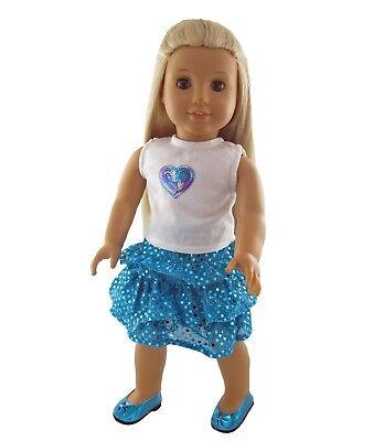 "Reversible Sequin Heart Tee Shirt Knit Top Short Sleeve 18/"" American Girl Doll"