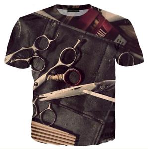 New-Fashion-Women-Men-Barber-Retro-3D-Print-Casual-T-Shirt-TK208