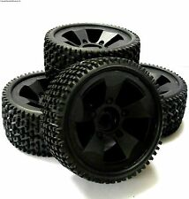 BS502-001 1/8 1/5 Scale Monster Truck Wheels and Tyres 4 Black Plastic 17mm Hex