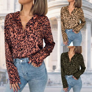 408c88ff Sexy Womens Long Sleeve V-Neck Leopard Tops Chiffon Blouse Casual ...