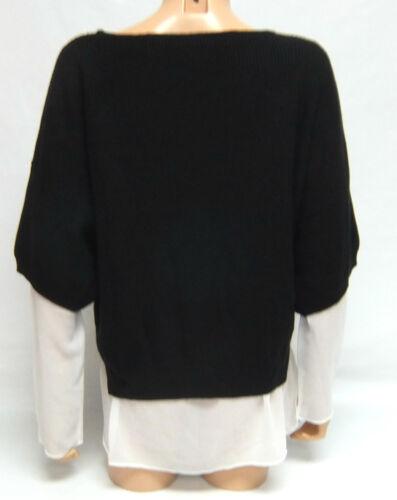 GRACE Knitwear Ladies JUMPER /& TUNIC Scoop Neck Combo Set BLACK CREAM
