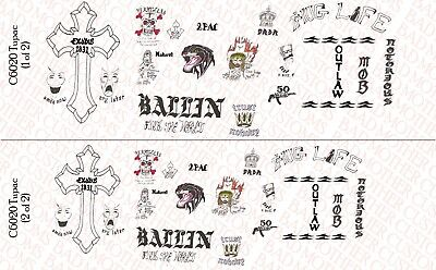 Music and Guitars pack Waterslide Decals 1//6 Scale Custom Tattoos