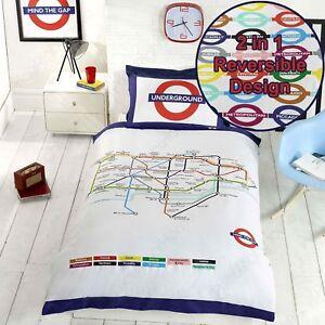 Funda Nordica Underground.London Underground Tube Map Single Duvet Cover And Pillowcase Set