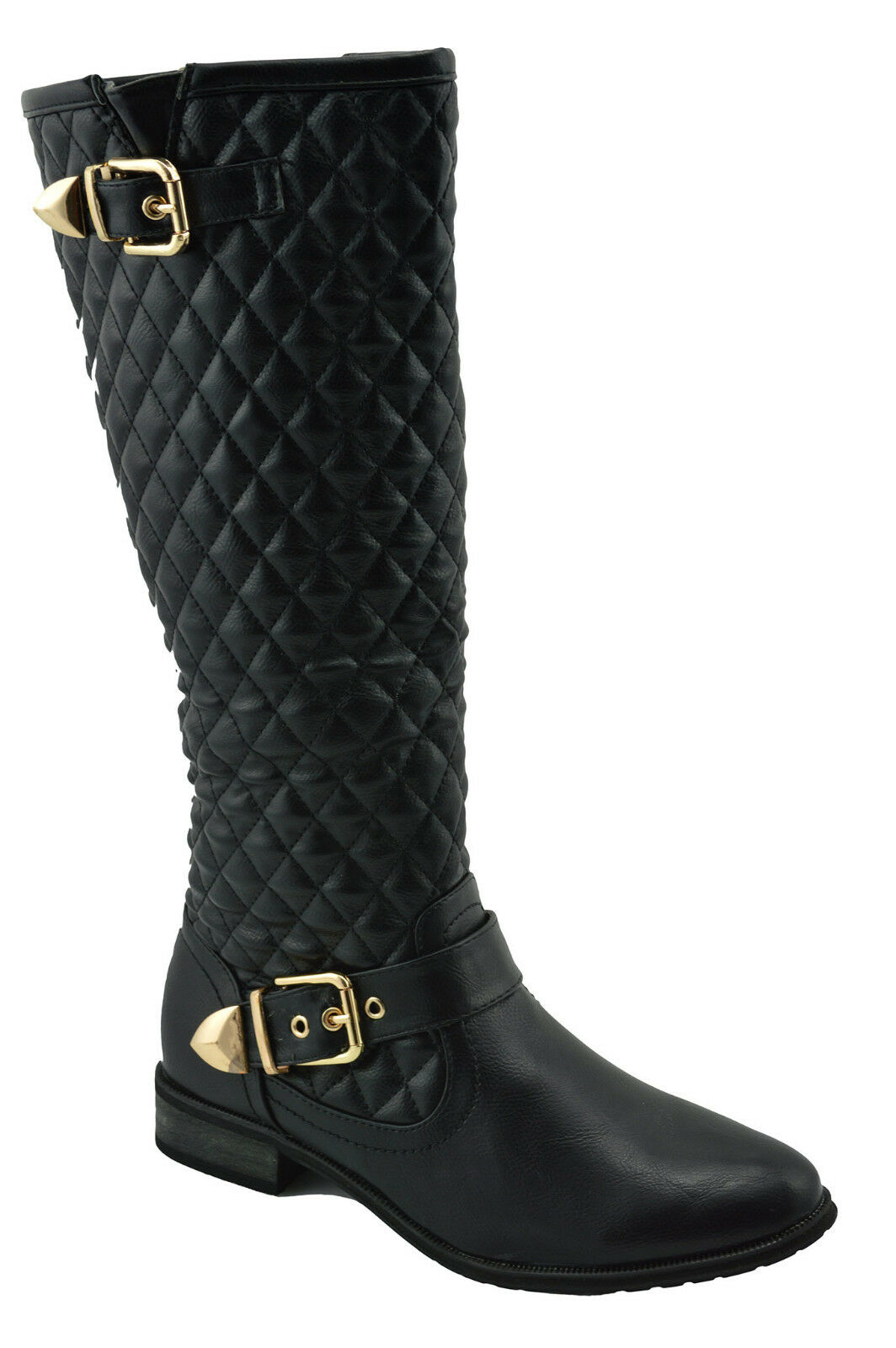 150 Black Faux Leather Fashion Knee High BOOTS Women Shoes NEW COLLECTION