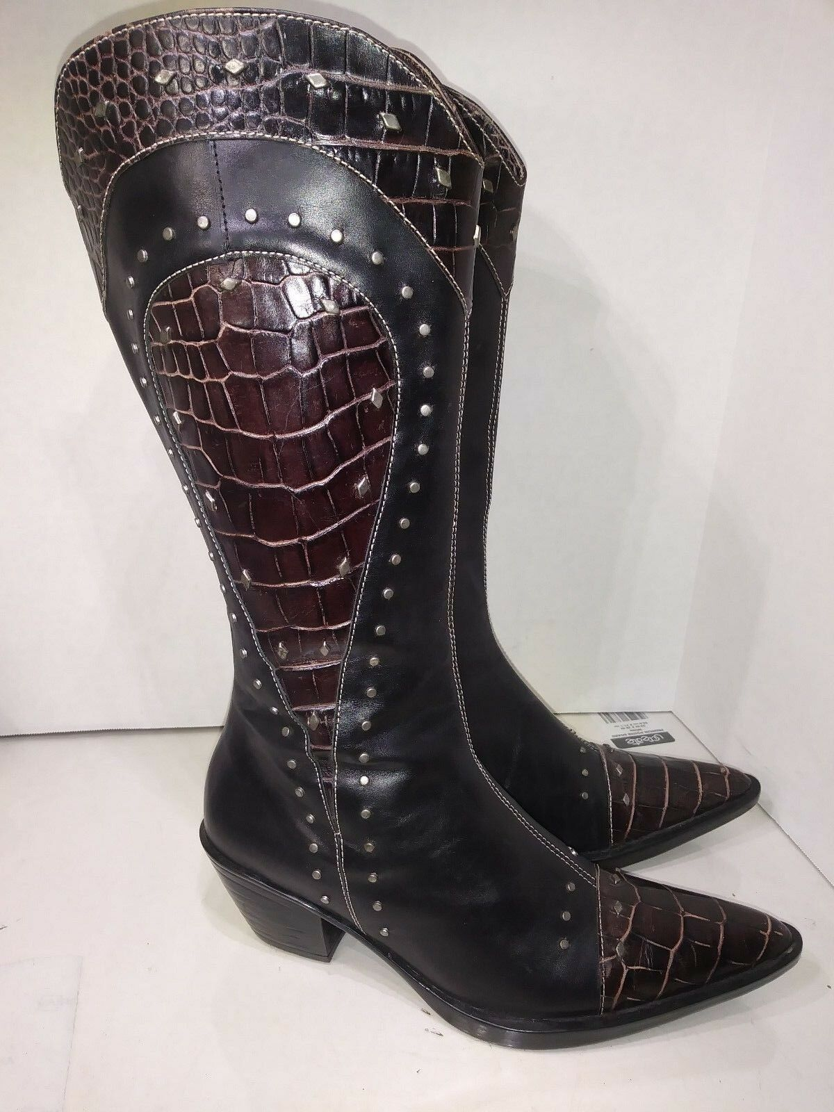Vaneli Dark Brown Studded Western Cowgirl Boots Womens Size 6.5