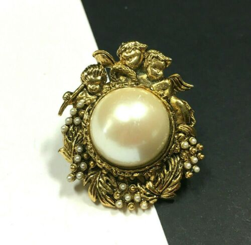 Vintage Victorian Seed PEARL Brooch Pin Ornate Ch… - image 1