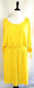 Lane-Bryant-Dress-Womens-Plus-Size-18-20-Lemon-Yellow-Jersey-Knit-Tassel-Stretch