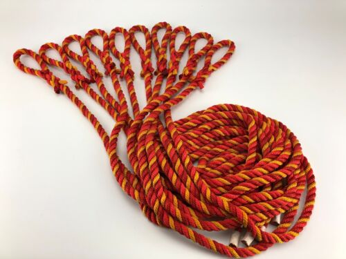 10 x 12mm Nylon Fender Lines Red, Yellow & Dark Red Rope Ties x 1.5 Metres