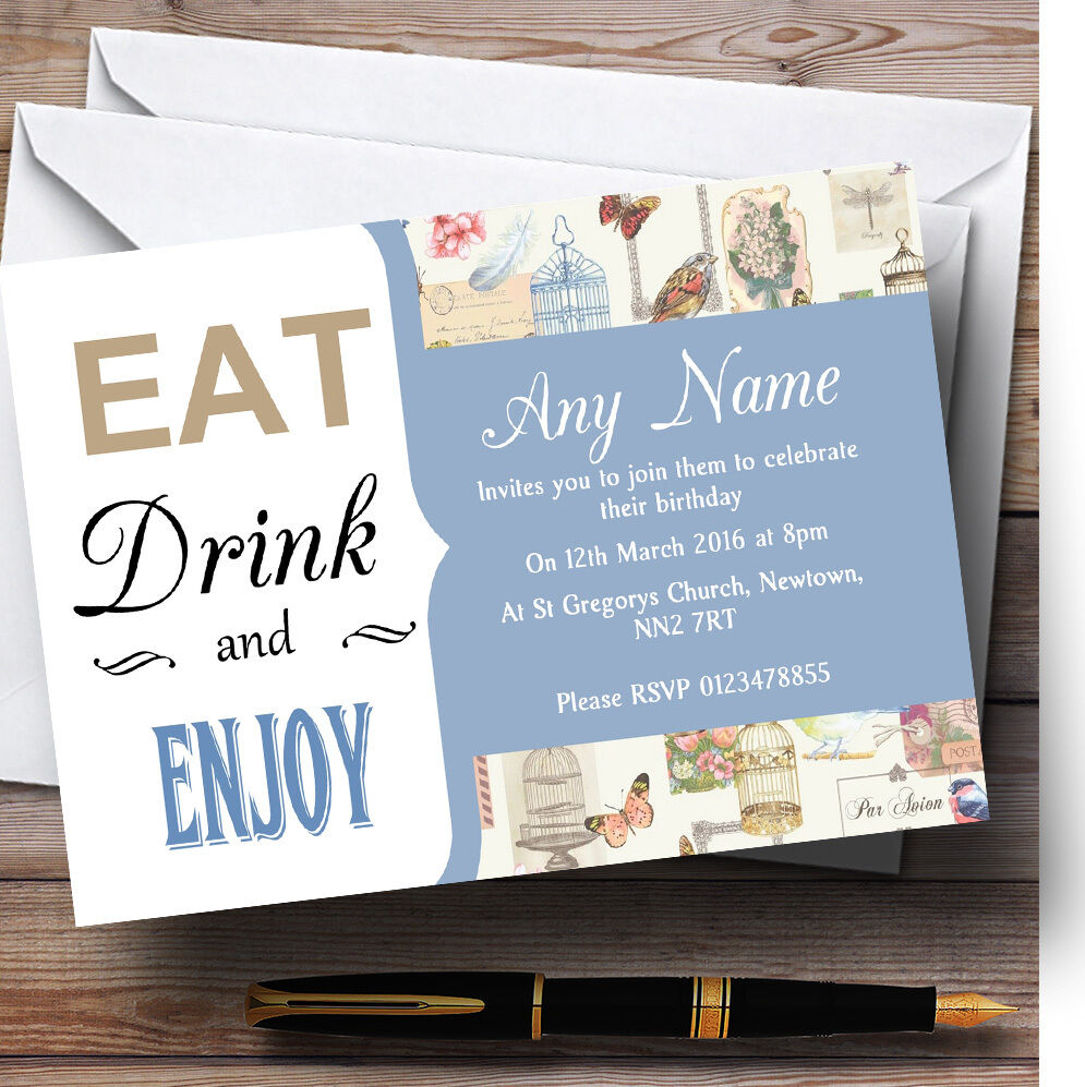 Blau Eat Drink Vintage Birdcage Personalised Birthday Party Invitations