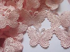 """5y Butterfly 3"""" Bow Lace Edge Trim Ribbon Wedding Applique DIY Sewing-Pink"""